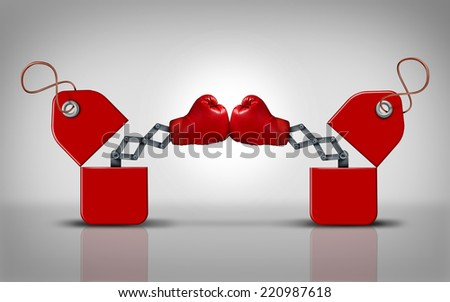 Price fight and commercial competition as a business concept for cutting retail prices to compete for customers as two open sales tags with boxing gloves punching each other for market supremacy. - stock photo