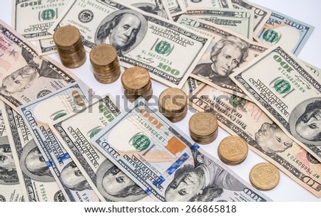 price graph coins and US dollar bills background - stock photo