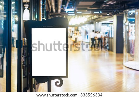 Price lable in shopping mall,for your text,film tone with grain - stock photo