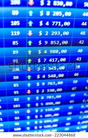 Price movement. Real time stock exchange. Business trade. Colored candle bars chart. Stock exchange rates. Business data shown on computer screen. Business stock exchange. Stock data live on-line.  - stock photo