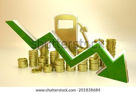 price of fuel decreases - 3D concept ilustration - stock photo