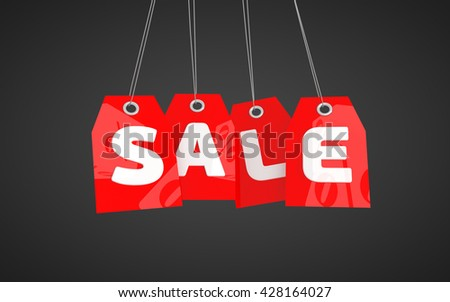 Price tags labels text sale. 3D rendered red SALE tag icon isolated on black background.