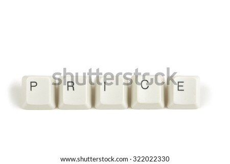 price text from scattered keyboard keys isolated on white background