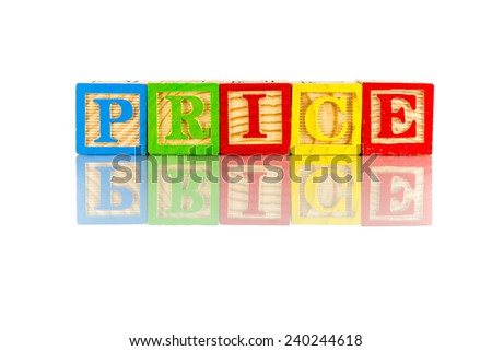 Price word reflection on white background