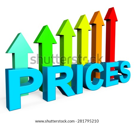 Prices Increase Showing Financial Report And Economy - stock photo