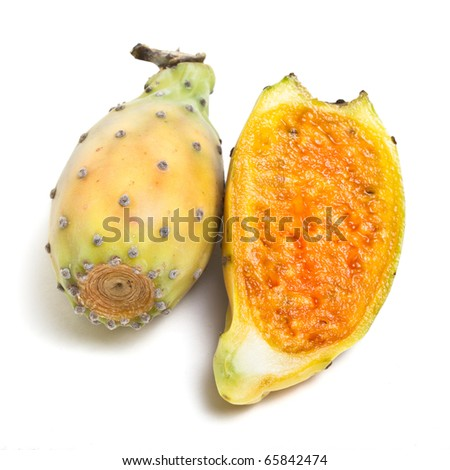 Prickly Pear from low perspective isolated on white background. - stock photo
