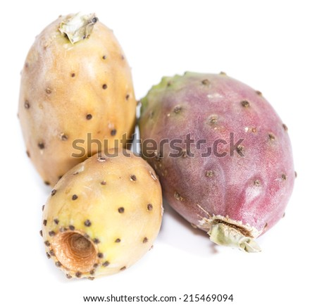 Prickly Pears isolated on pure white background (close-up shot) - stock photo