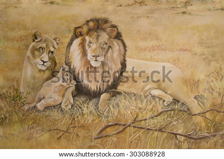 Pride of lions on vacation - stock photo