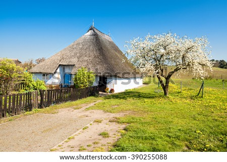 Priest House of Gross Zicker,the oldest House on Rugen Island,Germany - stock photo