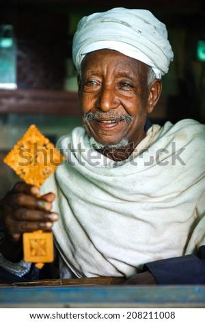 Priest of the Debra Mariam Monastery - Lake Tana, Ethiopia, Sep. - stock photo