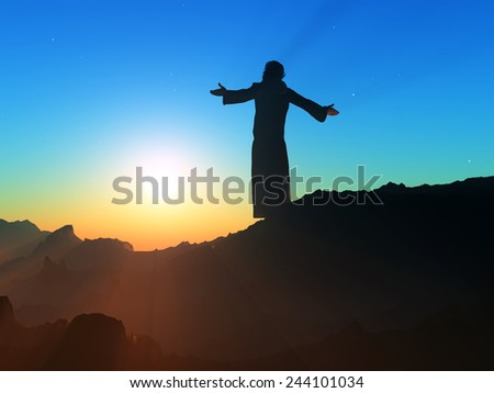 Priest piously on the mountain. - stock photo