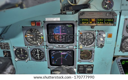 Primary flight instruments in flight - stock photo