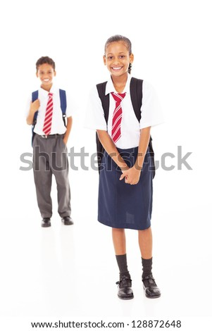 primary school students full length portrait on white - stock photo