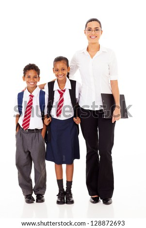primary school teacher and students full length portrait on white