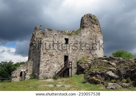 Primda castle - the one from the oldest stone castles in Czech republic - stock photo