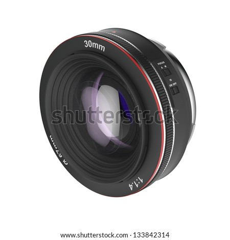 Prime lens isolated on white background