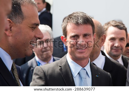 Prime Minister France Manuel Carlos Valls Galfetti at Intenational Paris Air Show  Le Bourget on June 19, 2015 in Paris, France