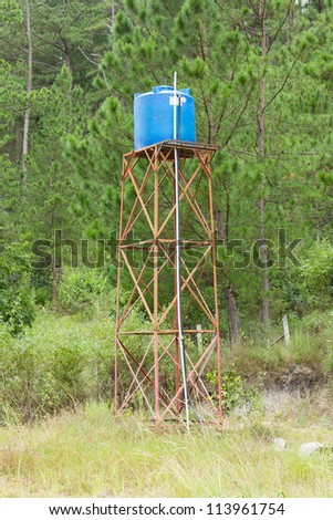 Primitive blue water tower in central Vietnam