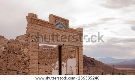 Primitive building still stands Rhyolite Ghost Town Nevada - stock photo