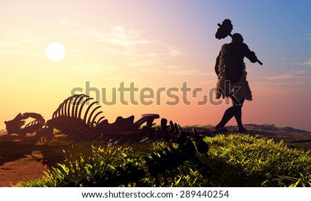 Primitive man and dinosaur skeleton - stock photo