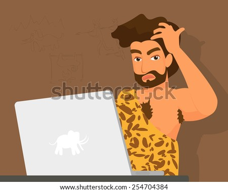 Primitive man has a problem with laptop. - stock photo