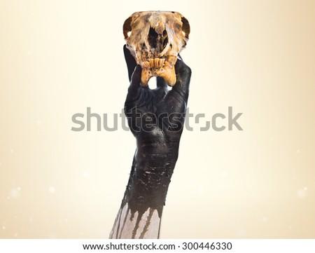 Primitive man holding rabbit skull over ocher background - stock photo