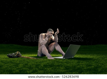 Primitive man with a laptop on the grass,3d render.
