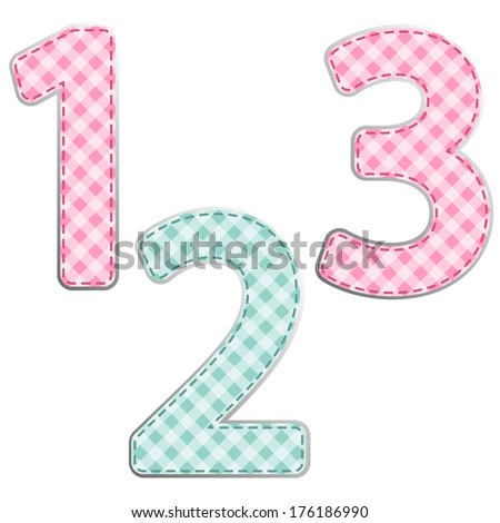 Primitive retro gingham fabric numbers for birthday invitation card or scrap booking - stock photo