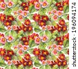 Primrose (primula) flowers. Seamless floral background. Aquarelle - stock photo