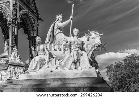 Prince Albert Memorial - Iconic, Gothic Memorial to Prince Albert from Queen Victoria. Memorial was designed by Sir George Gilbert Scott near Kensington Gardens in London, in 1876. Black and white.  - stock photo