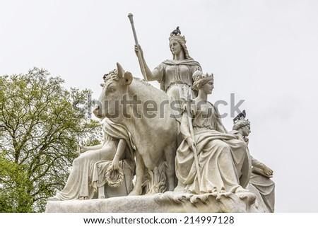 Prince Albert Memorial near Kensington Gardens in London. Sculpture. - stock photo