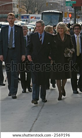 Prince Charles and his wife Camilla visit the Harlem Children's Zone in Manhattan on January 28, 2007
