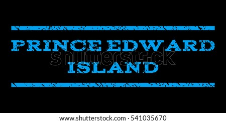 Prince Edward Island watermark stamp. Text tag between horizontal parallel lines with grunge design style. Rubber seal stamp with dirty texture. Glyph blue color ink imprint on a black background.