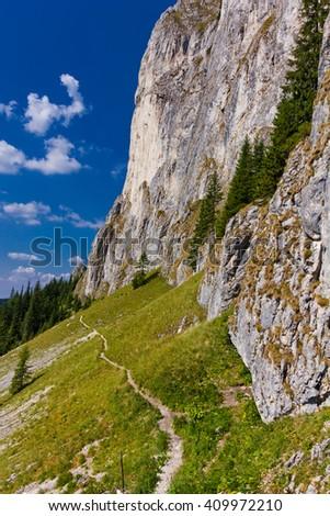 Prince's Stone mountain path, in the romanian South Carpathians - stock photo