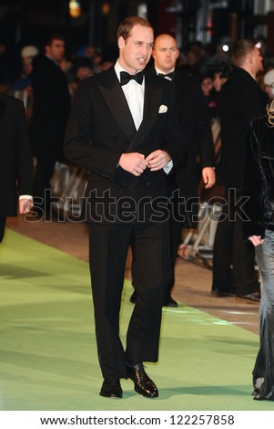 "Prince William, Duke of Cambridge arriving for the premiere of ""The Hobbit: An Unexpected Journey"" at the Odeon Leicester Square, London. 12/12/2012 Picture by: Steve Vas - stock photo"