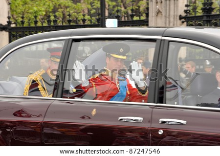 Prince William & Prince Harry (left) arriving at Westminster Abbey for the royal wedding of Prince William & Kate Middleton. April 29, 2011  London, UK Picture: Paul Smith / Featureflash - stock photo