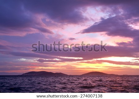 Princes Islands on amazing sunset in Istanbul. Adalar, Turkey
