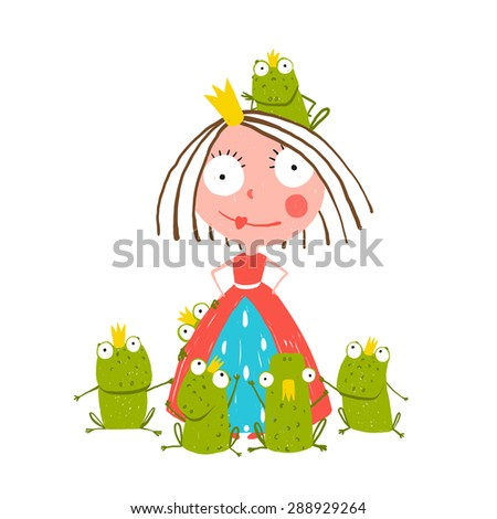 Princess and Many Prince Frogs Portrait Colored Drawing. Colorful fun childish hand drawn illustration for kids fairy tale. Raster variant. - stock photo