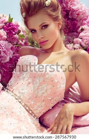 Princess. Beautiful young woman. - stock photo