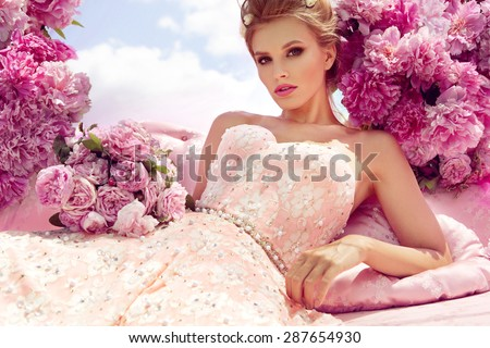 Princess. Beautiful young woman. - stock photo