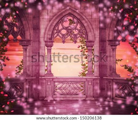 Princess Castle Fantasy Backdrop - stock photo