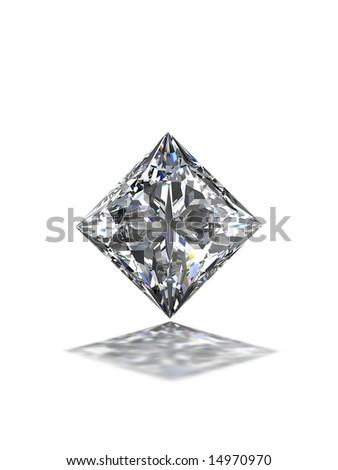 Princess cut diamond on white - stock photo