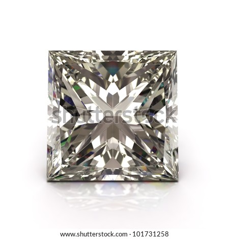 Princess cut diamond on white. Diamonds jewel.  High quality 3d render with HDRI lighting and ray traced textures. - stock photo
