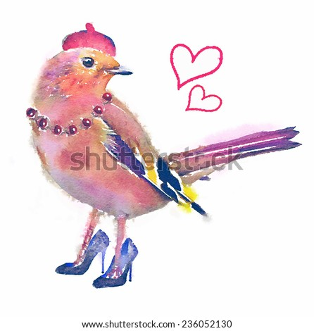 Princess Girl/Cute Bird/T-shirt Graphics/Watercolor painted pink bird/Invitation card with bright watercolor bird/Colored bird in withe background/French Girl/bird illustration - stock photo