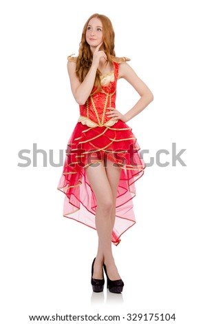 Princess in red dress isolated on white