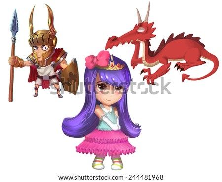 Princess, Knight and Dragon - Character Design - stock photo