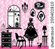 Princess Room with glamour accessories, furniture, cages, pictures. Princess girl and dog - black silhouettes on pink background  - illustration for girls.  Raster version - stock photo