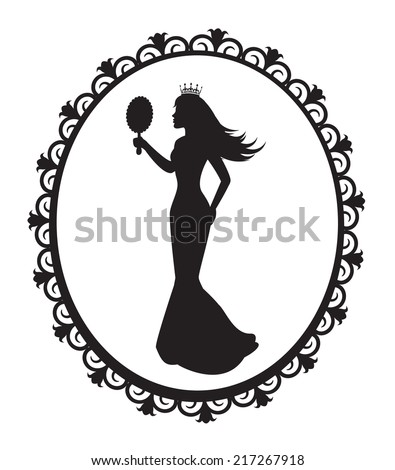 princess silhouette in a long dress and a crown in the patterned frame - stock photo