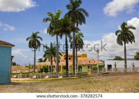 Principal square of Triinidad. one of UNESCOs World Heritage sites since 1988. Sancti Spiritus Province, Cuba. - stock photo