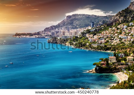 Principality of Monaco. Cote d'Azur., architectural beauty. Old buildings perfect combined with skyscrapers. Sea Shore- landscape picture. - stock photo